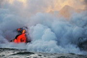 Sami Sarkis Prints - Steam rising off lava flowing into ocean Print by Sami Sarkis