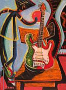 Electric Guitar Painting Originals - Still Life on the Go-Go by Dennis Tawes