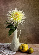 Table Cloth Metal Prints - Still Life with Dahila Metal Print by Nailia Schwarz