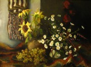 Sunflowers Paintings - Still-life with sunflowers by Tigran Ghulyan
