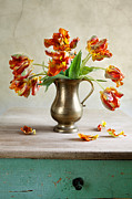 Petals Mixed Media Posters - Still Life with Tulips Poster by Nailia Schwarz