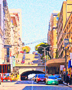Tunnels Digital Art Prints - Stockton Street Tunnel in San Francisco Print by Wingsdomain Art and Photography
