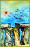 Great Britain Drawings - Stonehenge by Mindy Newman