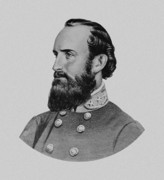 American Drawings Framed Prints - Stonewall Jackson Framed Print by War Is Hell Store