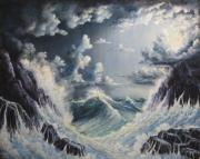 Beaches Reliefs Posters - Stormy Sea Poster by John Cocoris