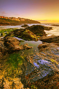 Cornwall Photos - Sunset by the ocean by Jaroslaw Grudzinski