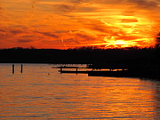 Clouds Pyrography - Sunset Chesapeake Bay Annapolis by Valia Bradshaw