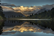 Snow-covered Landscape Art - Sunset Reflection Of Lake Matheson by Colin Monteath