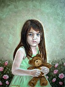 Child With Teddy Bear Framed Prints - Suri Framed Print by Gizelle Perez
