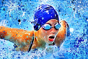 Divisional Framed Prints - Swimmer Framed Print by Stephen Younts