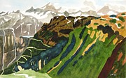 Switzerland Paintings - Switzerland Rhone Glacier by Lesley Giles