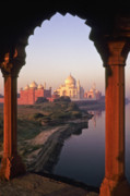 Yamuna River Posters - Taj Mahal at Sunrise Poster by Michele Burgess