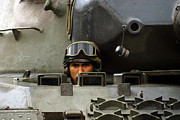 Component Photo Metal Prints - Tank Driver Of A Leopard 1a5 Mbt Metal Print by Luc De Jaeger