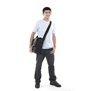 Shoulder Bag Framed Prints - Teenage Boy Framed Print by