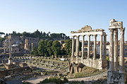 Saturn Framed Prints - Temple of Saturn in the Forum Romanum. Rome Framed Print by Bernard Jaubert