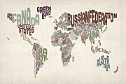 Urban Watercolour Prints - Text Map of the World Print by Michael Tompsett