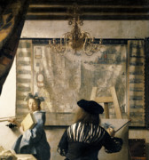 Chandelier Posters - The Artists Studio Poster by Jan Vermeer
