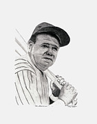 Red Sox Drawings Metal Prints - The Bambino Metal Print by Bob Garrison