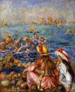 Seacoast Framed Prints - The Bathers Framed Print by Pierre Auguste Renoir