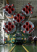 Rocket Boosters Posters - The Boosters Of The Soyuz Tma-14 Poster by Stocktrek Images