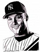 Yankees Drawings - The Captain by Jason Kasper