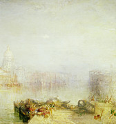 Santa Maria Della Salute Prints - The Dogana and Santa Maria della Salute Venice Print by Joseph Mallord William Turner