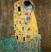Gustav Klimt Canvas Paintings - The Kiss by Gustav Klimt