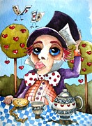 Tablecloth Paintings - The mad hatter by Lucia Stewart