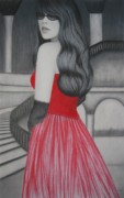 Gown Mixed Media Framed Prints - The Red Dress Framed Print by Lynet McDonald