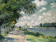 Perspective Paintings - The Seine at Argenteuil by Claude Monet