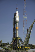 Anticipation Posters - The Soyuz Rocket Is Erected Poster by Stocktrek Images