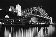 Joannes Framed Prints - The Sydney Harbor Bridge at night Framed Print by Thomas Joannes