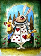 Lucia Stewart Prints - The white rabbit Print by Lucia Stewart