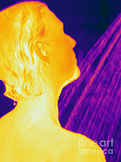 Human Being Posters - Thermogram Of A Woman In A Shower Poster by Ted Kinsman