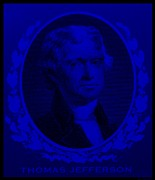 Thomas Jefferson Prints - THOMAS JEFFERSON in BLUE Print by Rob Hans