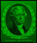 4th July Digital Art Prints - THOMAS JEFFERSON in GREEN Print by Rob Hans