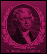 4th July Digital Art Prints - THOMAS JEFFERSON in HOT PINK Print by Rob Hans