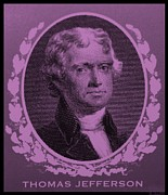 Patriots Prints - THOMAS JEFFERSON in LIGHT PINK Print by Rob Hans