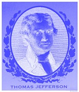 Patriots Prints - THOMAS JEFFERSON in NEGATIVE BLUE Print by Rob Hans