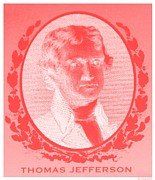 Patriots Posters - THOMAS JEFFERSON in NEGATIVE RED Poster by Rob Hans