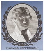Thomas Jefferson Prints - THOMAS JEFFERSON in NEGATIVE Print by Rob Hans