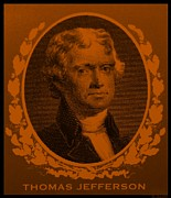 4th July Digital Art Prints - THOMAS JEFFERSON in ORANGE Print by Rob Hans