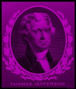 Patriots Prints - THOMAS JEFFERSON in PURPLE Print by Rob Hans