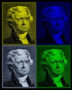Declaration Of Independence Prints - THOMAS JEFFERSON in QUAD COLORS Print by Rob Hans