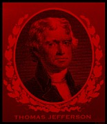 4th July Digital Art Prints - THOMAS JEFFERSON in RED Print by Rob Hans