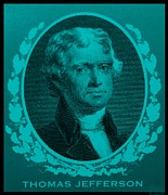 4th July Digital Art Prints - THOMAS JEFFERSON in TURQUOIS Print by Rob Hans