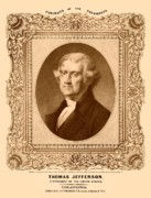 Us Presidents Drawings Framed Prints - Thomas Jefferson Framed Print by War Is Hell Store