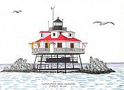 Ocean Images Drawings Posters - Thomas Point Shoal Lighthouse Poster by Frederic Kohli