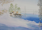Winter Scene Paintings - Thousand Islands Bridge by Robert P Hedden