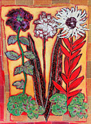 Diane Fine Mixed Media Metal Prints - Three Flowers Metal Print by Diane Fine
